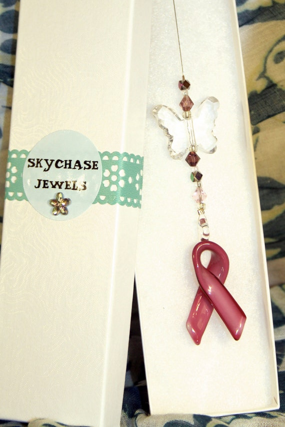 Rear View Car Mirror Ornament - Hanger -  Pink Ribbon for Breast Cancer Awareness