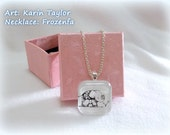 Baby Elephant - Square Glass Tile Necklace