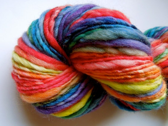 Primary Rainbow Thick and Thin Handspun Yarn- Reserved for Karri