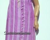 Spa Wrap Bridesmaids Gift from High Quality Hand Woven Turkish Cotton Bath Towel(Peshtemal)-White Stripes on Lilac