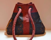 Black Red and Gold Floral Prints Quilted Versatile Tote Bag Purse