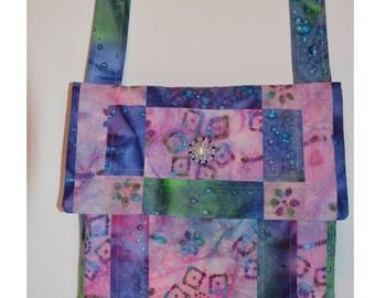 Multicolored Pink Flower Batik Print Quilted Messenger Bag ,Purse,School Book Bag