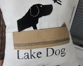 Lake Dog Black Applique Canoe Dragonfly Burlap Black and White Dog Pillow