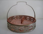 Vintage Pink Rose Depression Glass Divided Dish Relish Tray in Basket