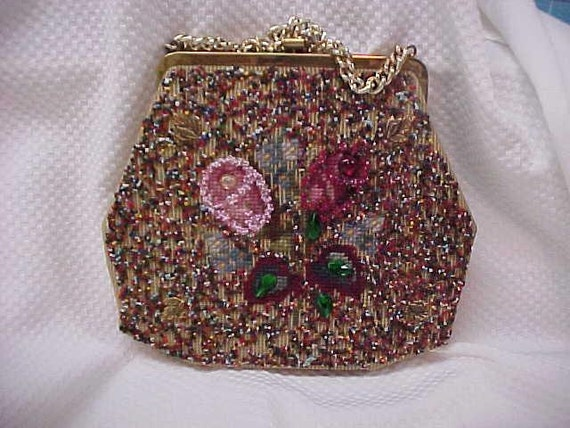 "Petit Point and Bead Purse by ""Soure Bag, New York."""
