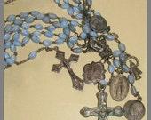 Multi-Strand Vintage Blue Glass Rosary Necklace