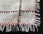 Set of 6 Pure 100% linen gauze embroidered hemstitch napkin