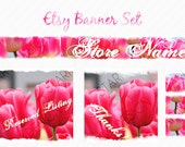Premade Pink Tulip Flower Etsy Banner Avatar Placeholder Set