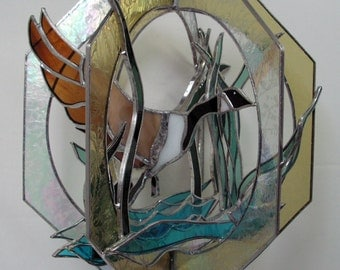 Canada Goose,  Bird in Stained Glass Suncatcher Whirl