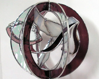 White Dove and Wedding Bells in Stained Glass Whirl, Suncatcher