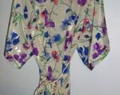"Satin Robe with Jeweltone Flower Print Vintage Eighties 80""s"
