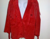 Red Suede Fringe Blazer Jacket Vintage Eighties 80's
