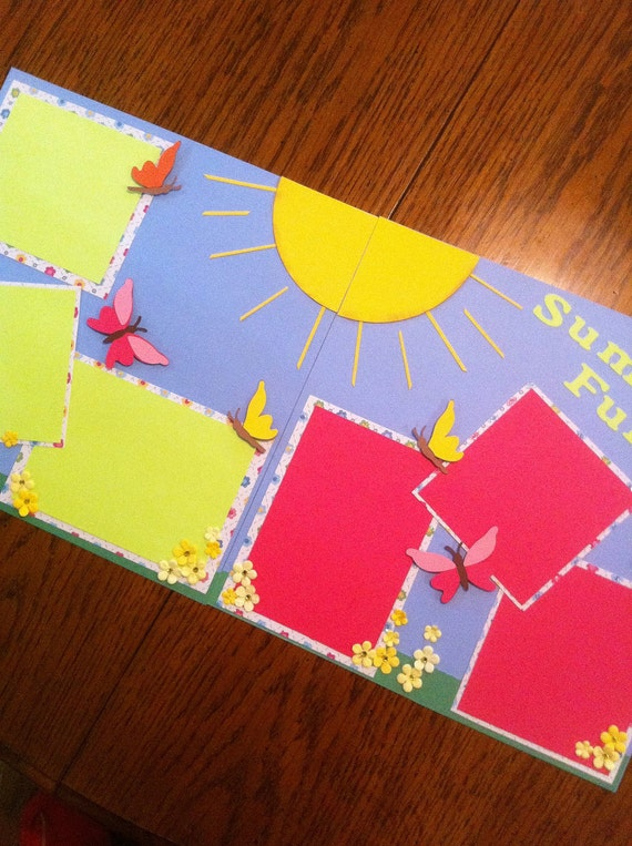 Summer Fun -  Pre Made Scrapbook Page