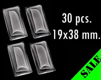 30pcs. 19x38mm Clear Glass Rectangle Cabochons