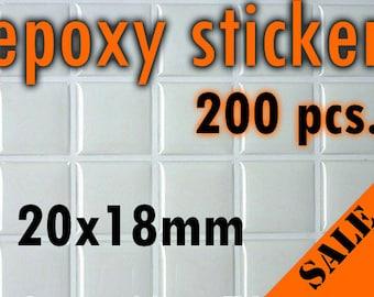 200pcs. 20x18mm Scrabble Size Square Epoxy Stickers