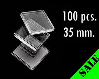 100 pcs. 35mm Clear Glass Square Tiles