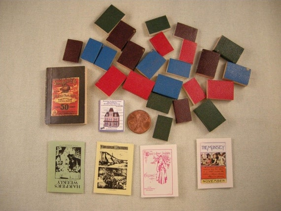 Dollhouse Miniature Books and Magazines