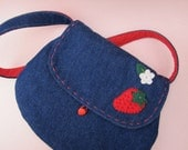 Strawberry Blue Denim Purse with Red Polka Dots