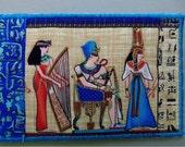 Stunning Egyptian Blue Pharoah Fabric Postcard