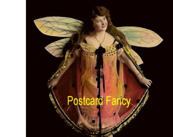 Pretty DIGITAL Download of girl with BUTTERFLY wings, real photo antique postcard image from France