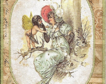 Pretty Fabric Postcard with image from an antique postcard, Happy Spring