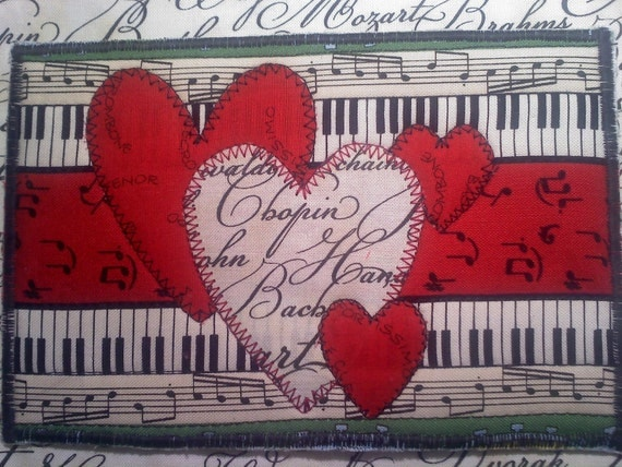Handmade Fabric Heart Postcard for the music lover