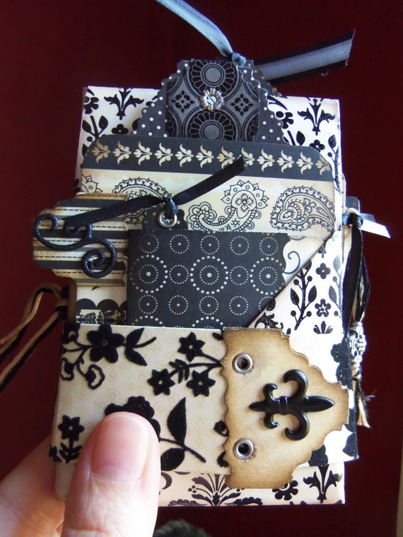 Hand crafted black toile photo album, scrapbook, journal, brag book, Perfect for a gift