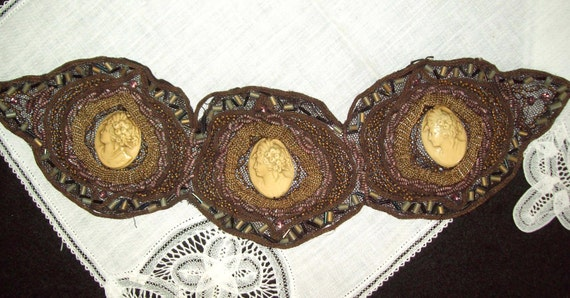 30% OFF Victorian Large Three Section Handwork Central Celluloid Cameo's, Glass Beads, and Cording