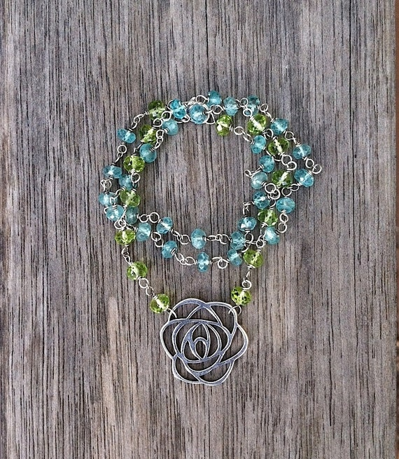Peridot and Apatite Flower Necklace