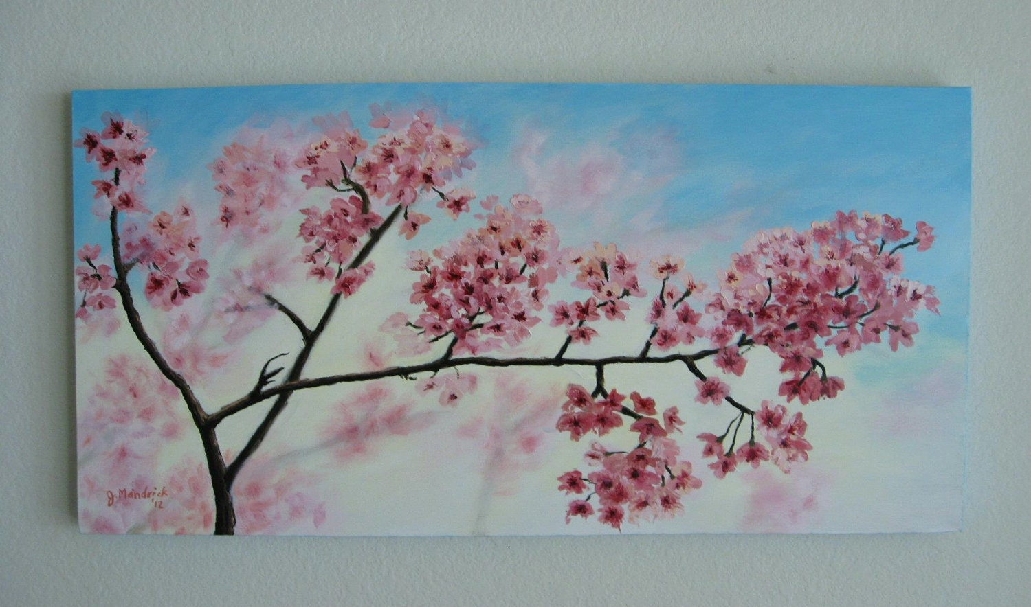 Original 18x36 cherry blossom painting on gallery canvas by j for Canvas painting of cherry blossoms