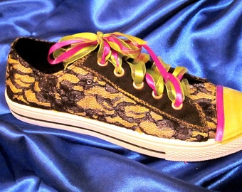 Custom Painted Black lace Sneaker ON SALE various colors