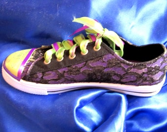 Custom painted sneaker purple and lace women's or teens luscious Purple size 6 or 8 ON SALE