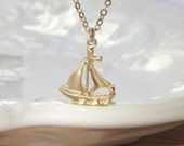 Little Gold Sailboat Necklace