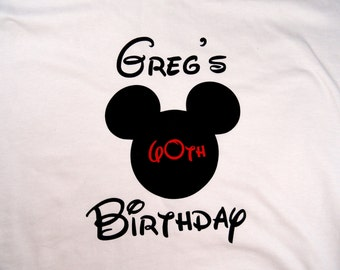 Personalized Custom Mouse Ears Birthday Adult T Shirt