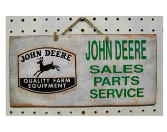 Garage sign John Deere  vintage look handcrafted and aged 11-6 inches 1.95 SHIPPING