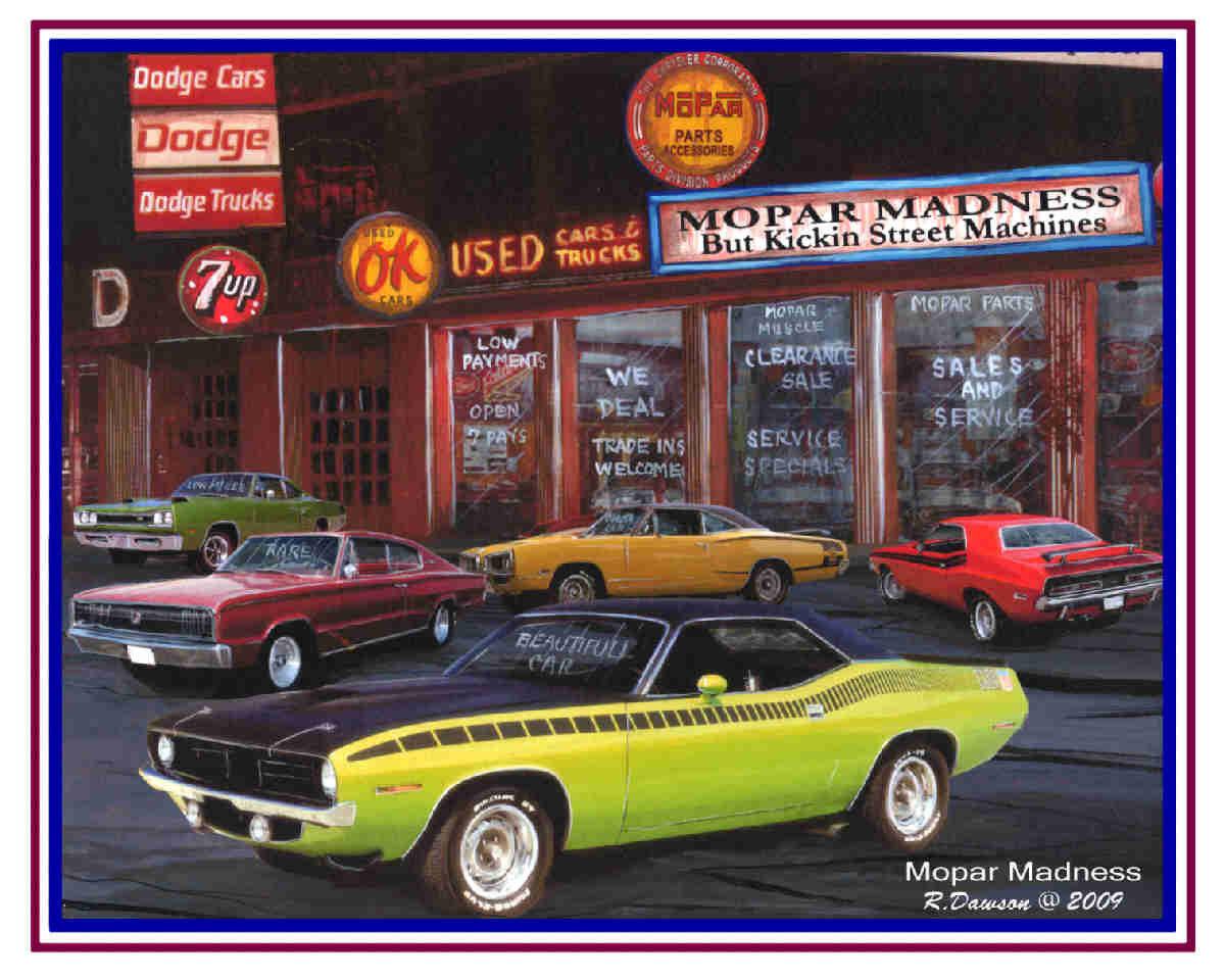 Muscle car art 5 handsigned print set MOPAR lover collection