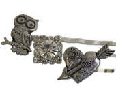 Vintage Inspired Bobby Pin Set Hair Clip For Women and Teens Bridesmaids Bridal Owl Heart and Rhinestone by Preciosa Couture Item No. 36
