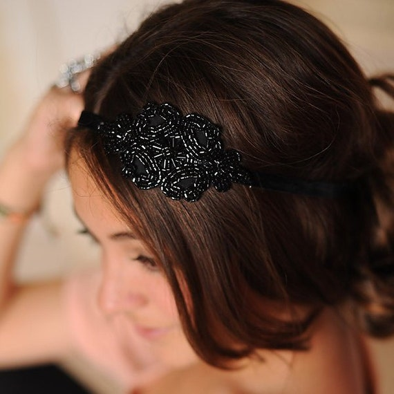 Headband for Women Art Deco Teens Boho Beaded Elastic Headwrap Hair Accessories by Preciosa Couture  Item No. 33