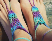 Handmade Bright Peacock,Crochet Barefoot Sandals,Hippie Foot Thongs,Yoga, Belly dancing,Bridal, Bridesmaids, Summer, Beach