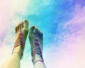 Handmade Crochet Barefoot Sandals,Hippie Foot Thongs, Bridal, Bridesmaids, Summer, Beach, Lace up Sandals, Festival, Bohemian