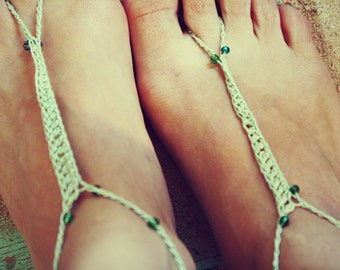 Handmade Thin Beaded Mint Green Crochet Barefoot Sandals, Hippie Foot Thongs, Wrap Anklets, Aztec, Tribal, Summer, Beach