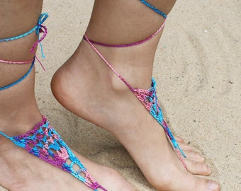 Barefoot Sandals,Hippie Foot Thongs, Bridal, Bridesmaids, Summer, Beach, Lace up Sandals, Festival,Stocking Stuffers