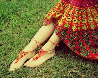 Burning Man, Crochet Barefoot Sandals,Hippie Foot Thongs,Bridesmaids,Summer, Beach,Lace up Sandals, Festival, Bohemian,Shower Favors