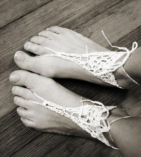 Handmade Barefoot Sandals, White Crochet, Hippie, Foot Thongs, Bridal, Summer, Beach, Music festivals