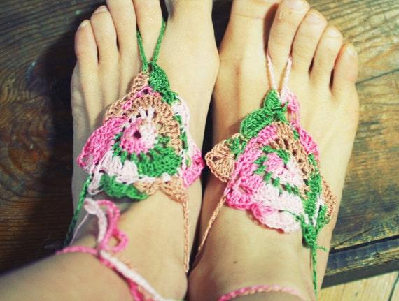 Pastel Garden, Handmade Crochet Barefoot Sandals, Hippie Foot Thongs, Crochet Accessories, Bridal, Bridesmaids, Summer, Beach