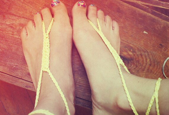 Handmade Thin Yellow Crochet Barefoot Sandals, Hippie Foot Thongs, Wrap Anklets, Aztec, Tribal, Summer, Beach