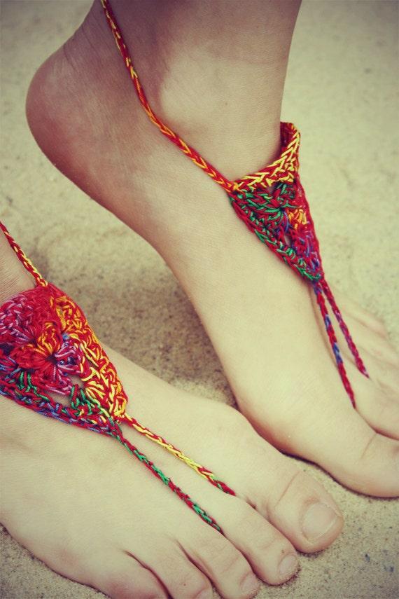 Handmade Bohemian Crochet Barefoot Sandals, Hippie Foot Thongs, Hippie Gladiator, Beach, Festival