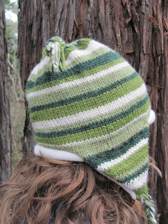 Fleece Lined Green Striped Hat with Ear Flaps, Hand Knit, Warm Winter or Spring Cap