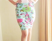 Bodycon Skirt with Smocking Detail - one of a kind Baby Blue Jersey