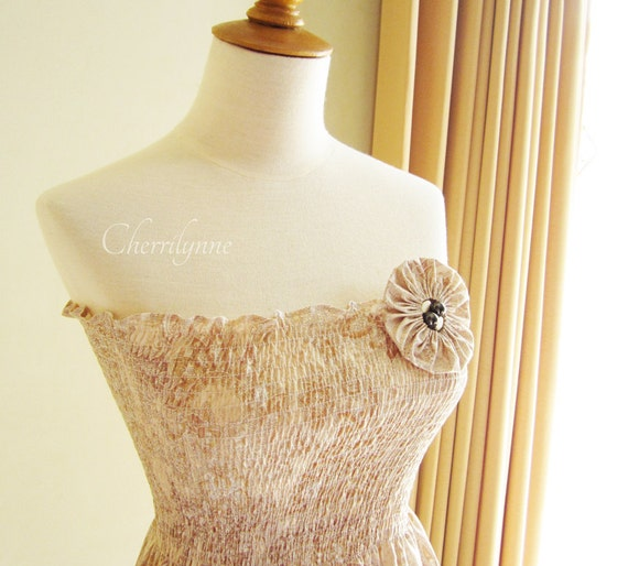 Smocked Dress Light Brown Japanese Cotton with Fabric Flower Brooch